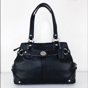 Coach Carly Black Leather Turnlock Shoulder Bag